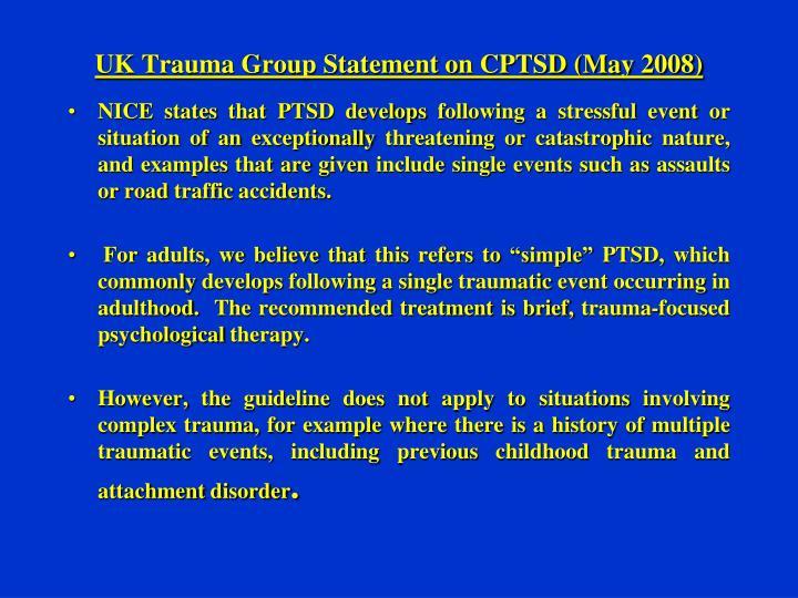 UK Trauma Group Statement on CPTSD (May 2008)