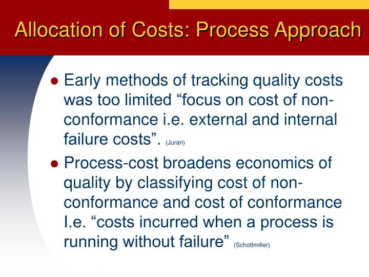 Allocation of Costs: Process Approach