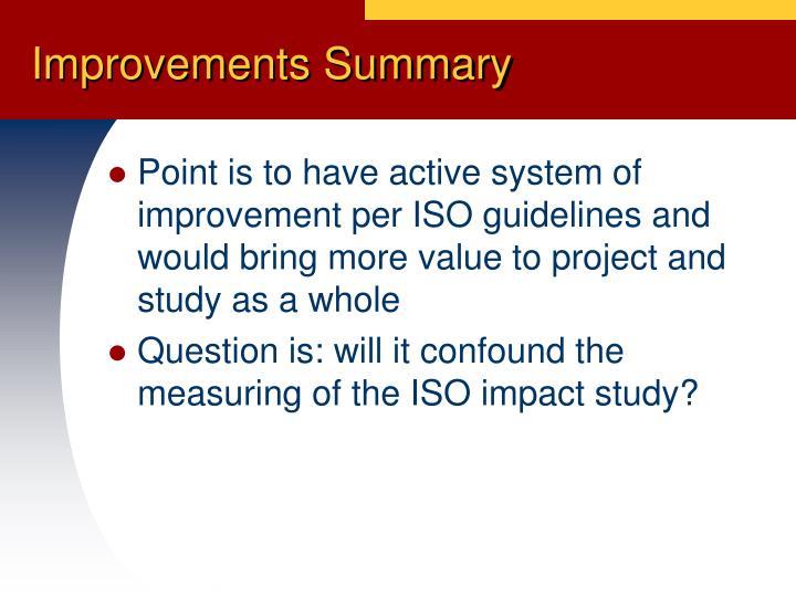 Improvements Summary