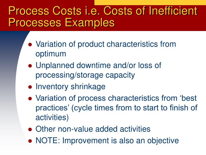 Process Costs i.e. Costs of Inefficient Processes Examples