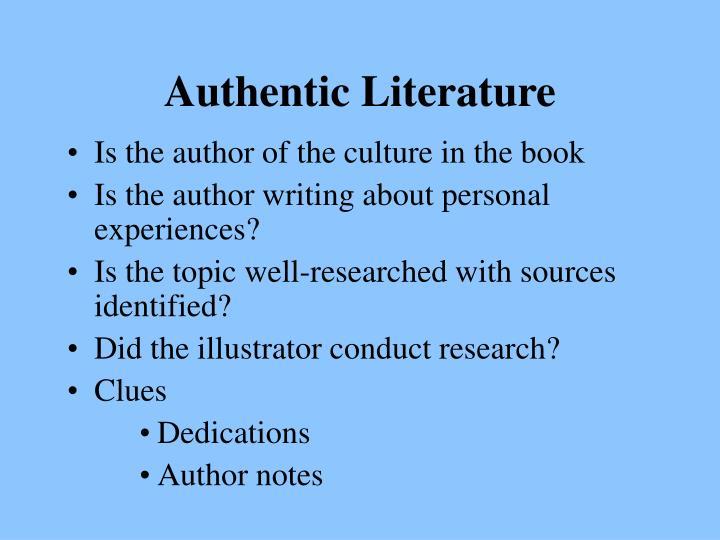 Authentic Literature