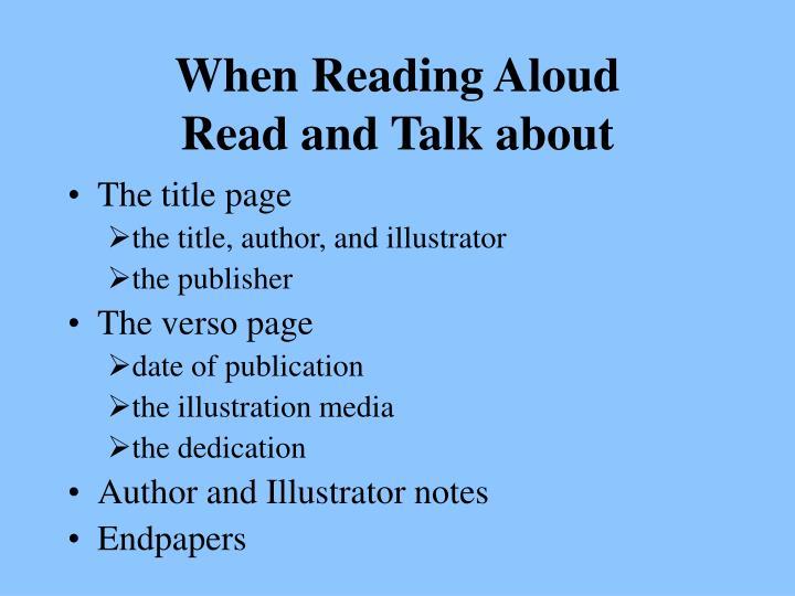 When Reading Aloud