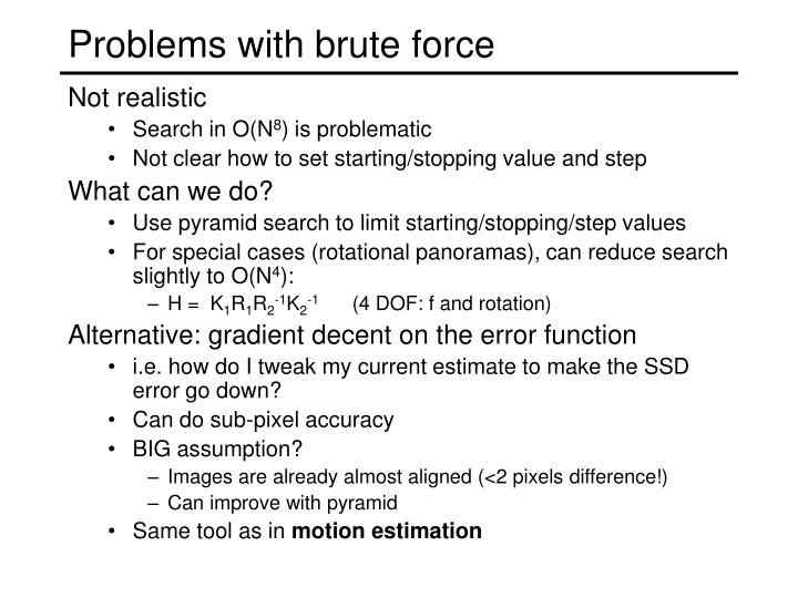 Problems with brute force