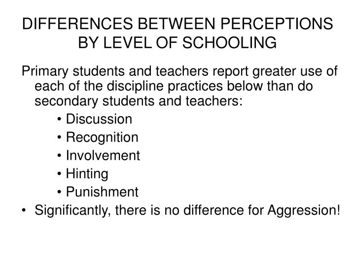 DIFFERENCES BETWEEN PERCEPTIONS BY LEVEL OF SCHOOLING