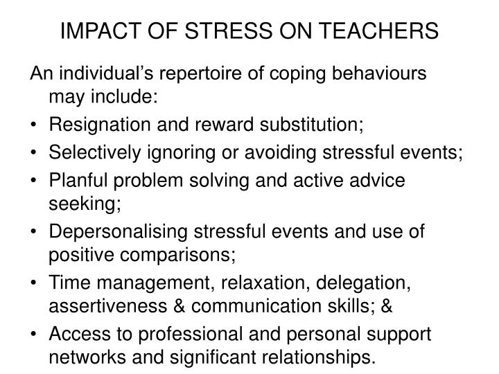 IMPACT OF STRESS ON TEACHERS