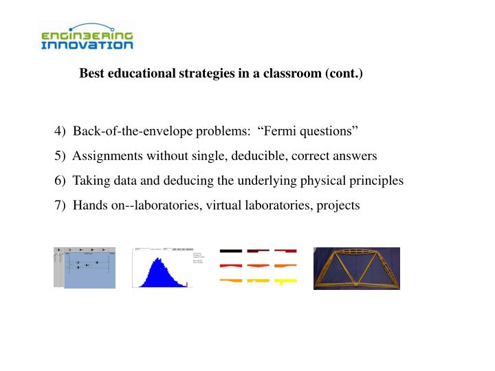 Best educational strategies in a classroom (cont.)