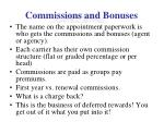 commissions and bonuses