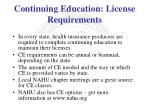 continuing education license requirements
