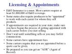 licensing appointments