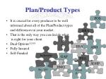 plan product types