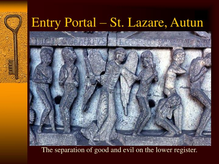 The separation of good and evil on the lower register.
