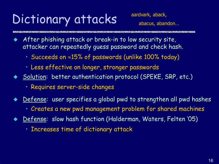 Dictionary attacks