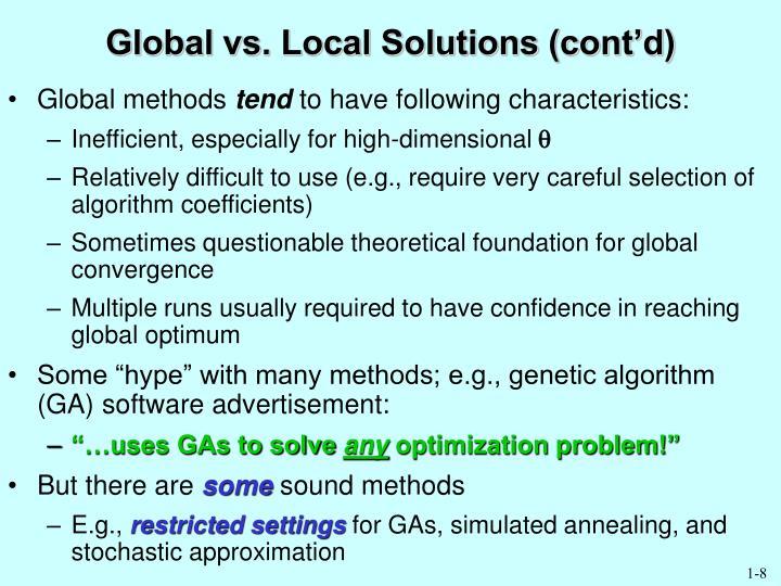 Global vs. Local Solutions (cont'd)