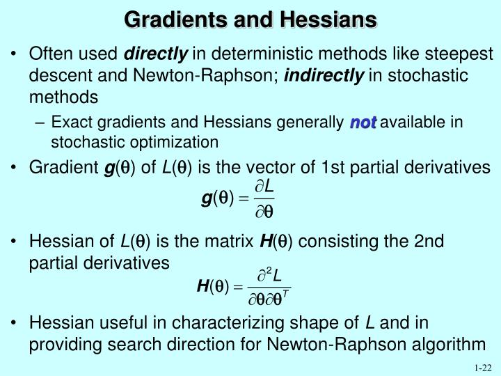 Gradients and Hessians