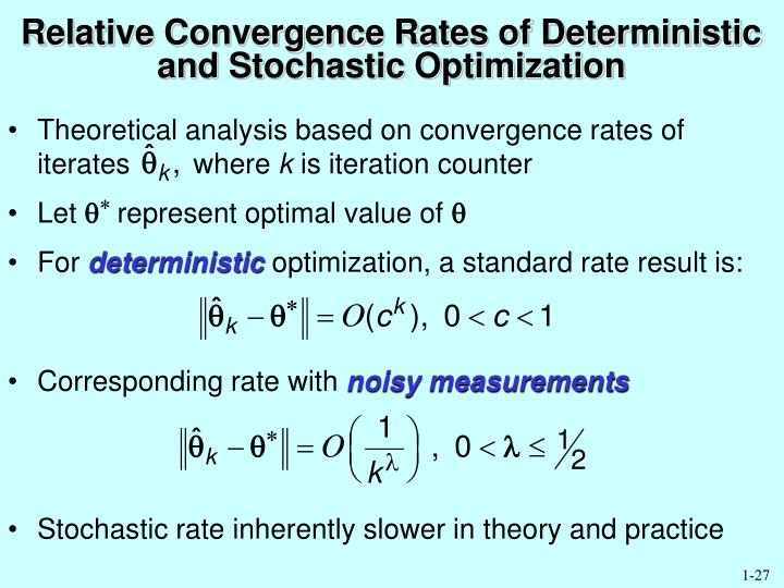 Relative Convergence Rates of Deterministic and Stochastic Optimization