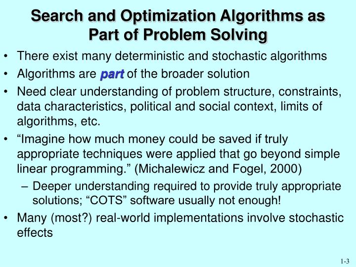 Search and Optimization Algorithms as