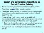 search and optimization algorithms as part of problem solving