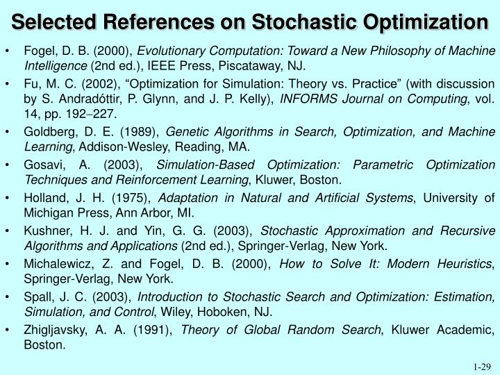 Selected References on Stochastic Optimization