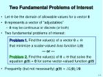 two fundamental problems of interest