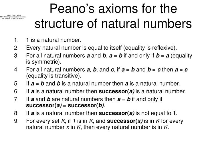 Peano's axioms for the structure of natural numbers