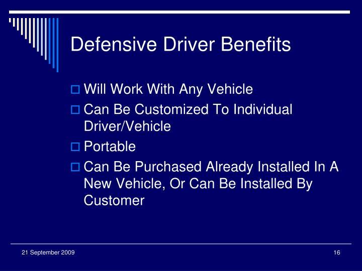 Defensive Driver Benefits