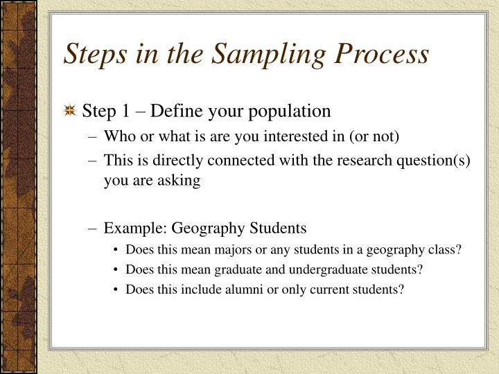 Steps in the Sampling Process