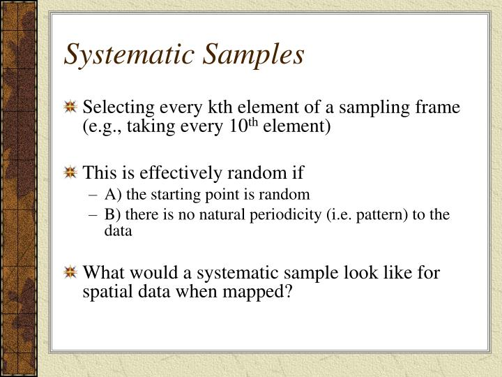 Systematic Samples