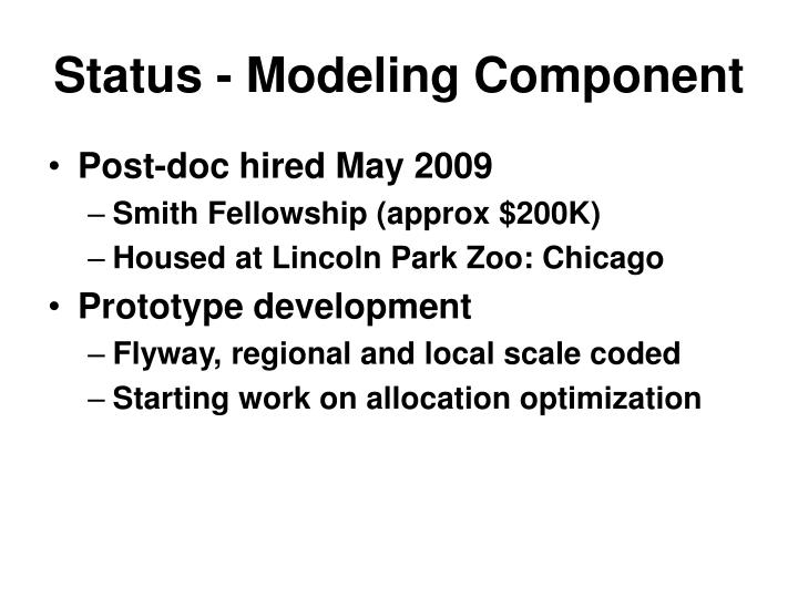 Status - Modeling Component