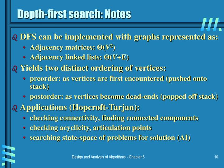 Depth-first search: Notes