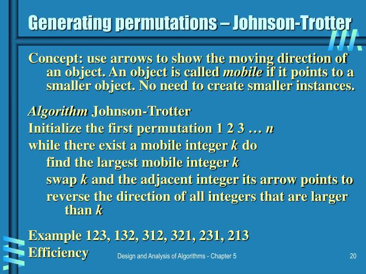 Generating permutations – Johnson-Trotter