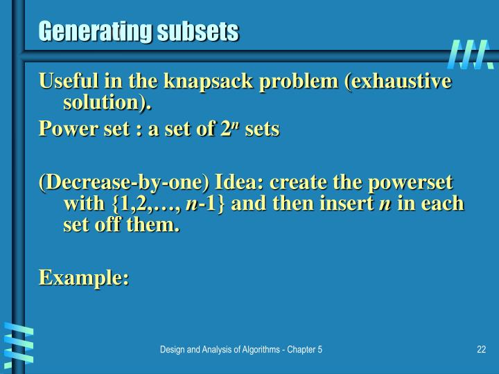 Generating subsets