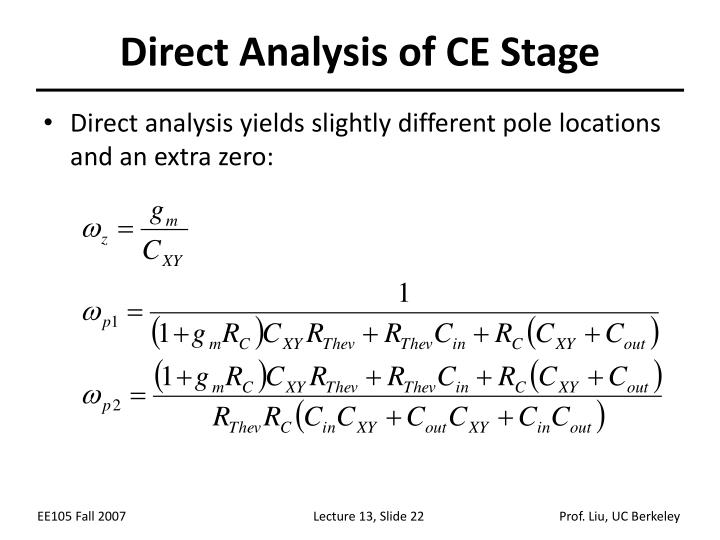 Direct Analysis of CE Stage