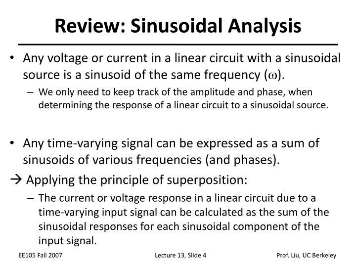 Review: Sinusoidal Analysis