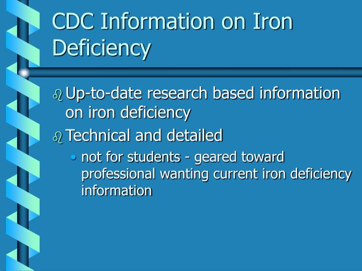 CDC Information on Iron Deficiency