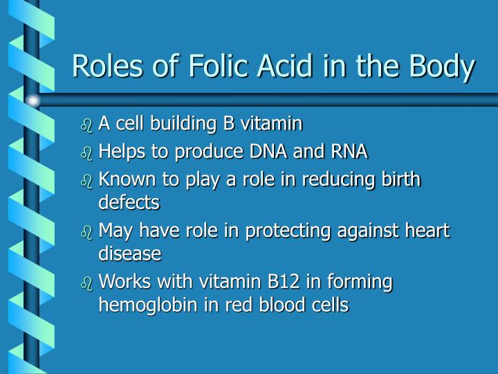 Roles of Folic Acid in the Body