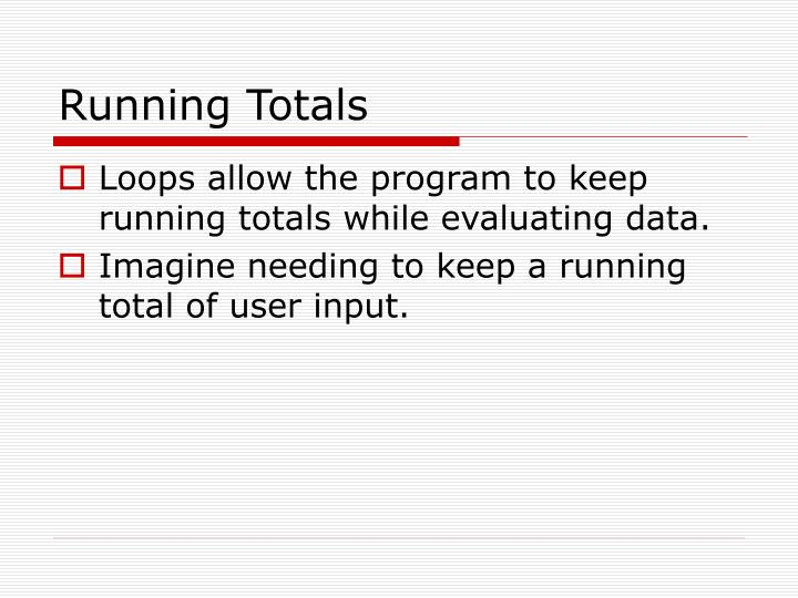 Running Totals