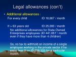 legal allowances con t