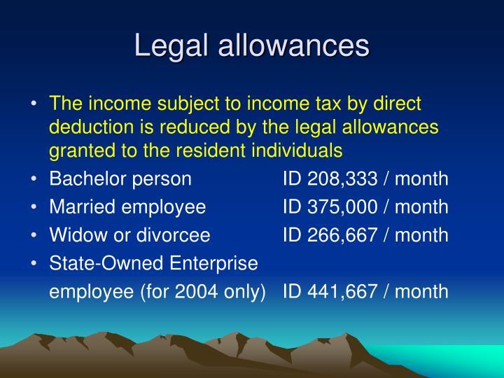 Legal allowances