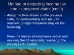 method of deducting income tax and its payment dates con t1