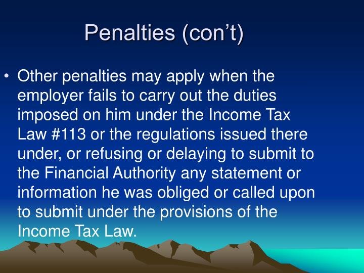 Penalties (con't)
