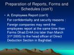 preparation of reports forms and schedules con t1