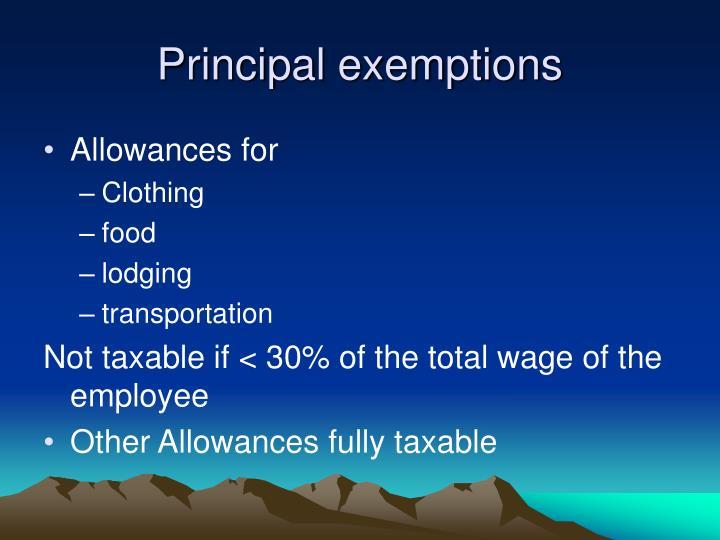 Principal exemptions