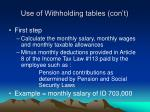 use of withholding tables con t