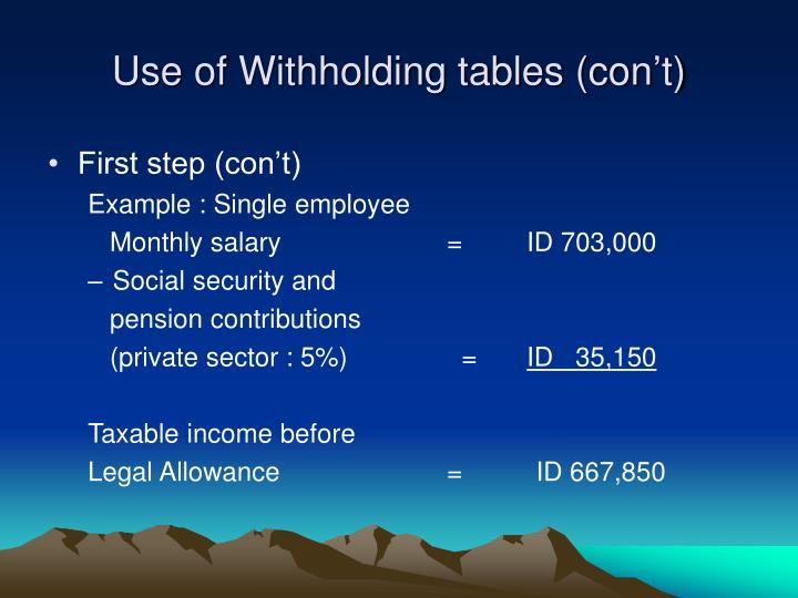 Use of Withholding tables (con't)