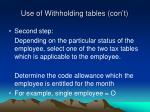use of withholding tables con t2