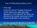 use of withholding tables con t3