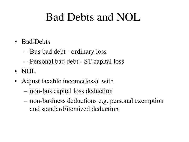 Bad Debts and NOL