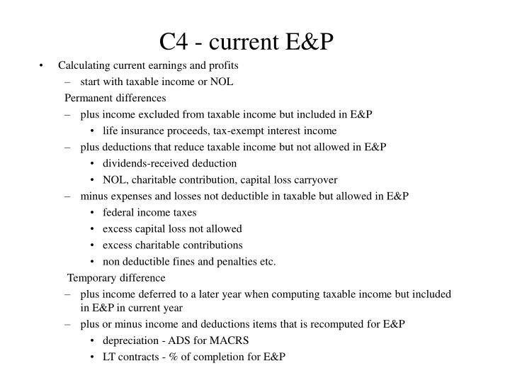 C4 - current E&P