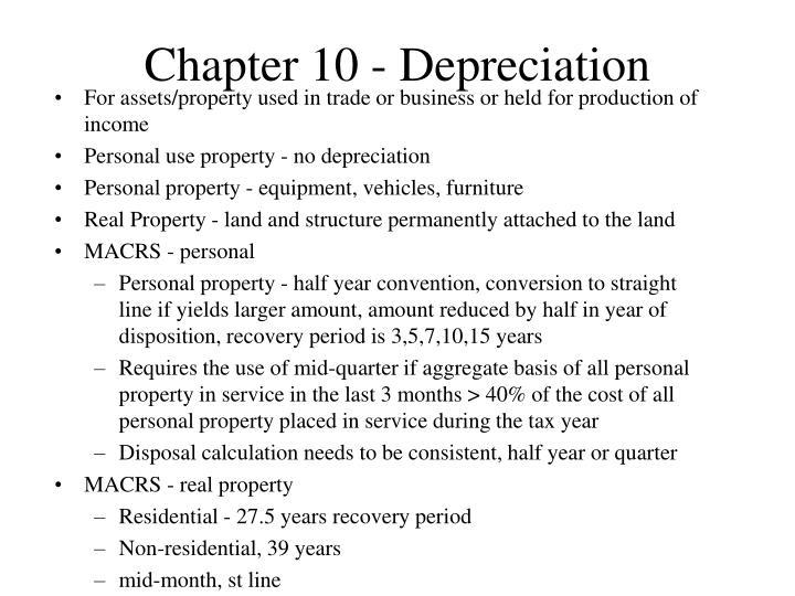 Chapter 10 - Depreciation