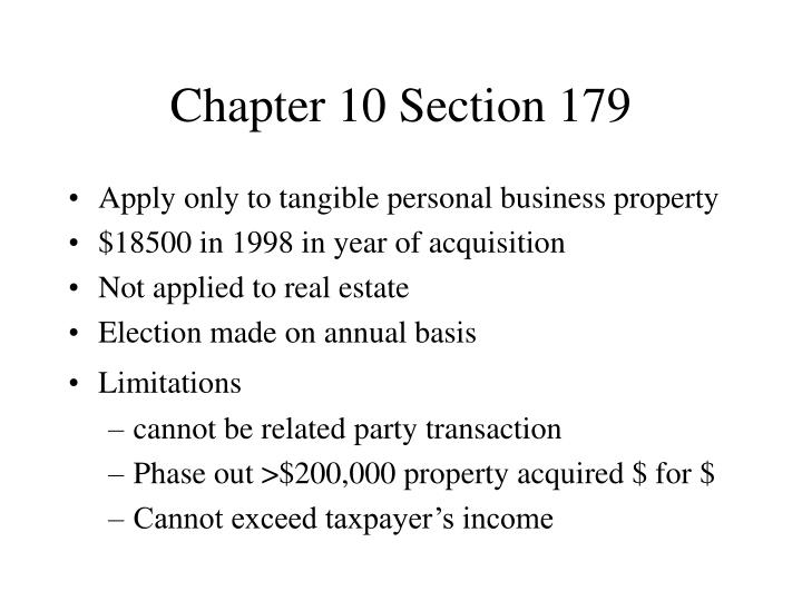 Chapter 10 Section 179